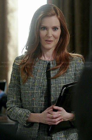 Abby's grey tweed jacket and dress with black back on Scandal