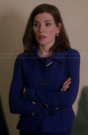 Alicia's blue toggle jacket on The Good Wife