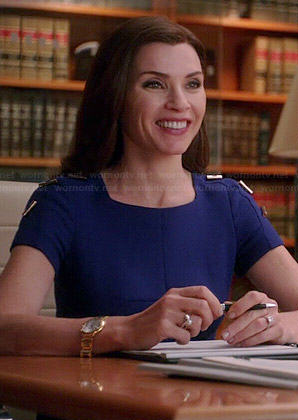Alicia's blue dress with toggle shoulder details on The Good Wife