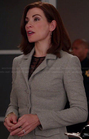 Alicia's grey flared jacket on The Good Wife