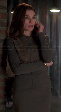 Alicia's grey jacket with suede panel on The Good Wife
