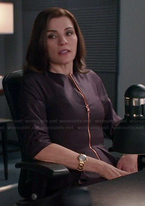 Alicia's purple zip front peplum jacket on The Good Wife
