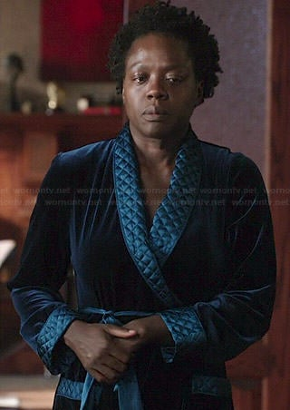Annalise's blue velvet robe with quilted trim on How to Get Away with Murder