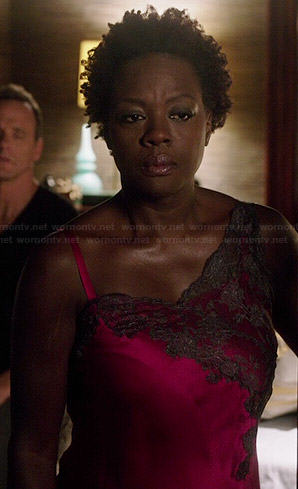 Annalise's pink asymmetric lace detailed night gown on How to Get Away with Murder