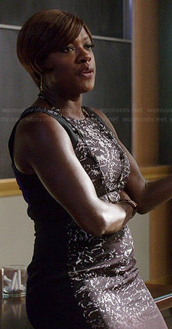 Annalise's printed dress with blue back on How to Get Away with Murder