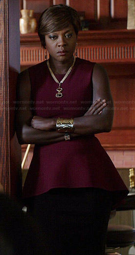 Annalise's burgundy peplum top on How to Get Away with Murder