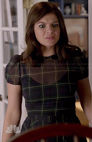 Annie's plaid Thanksgiving dress on Marry Me