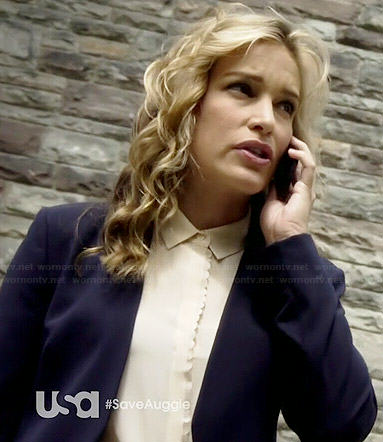 Annie's cream sleeveless shirt with scalloped trim on Covert Affairs