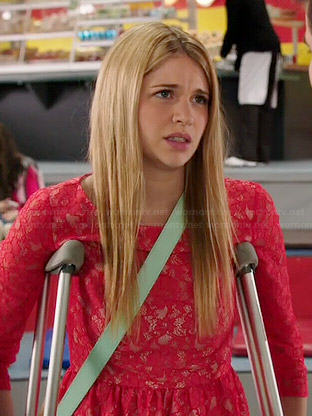Becky's pink lace dress on Degrassi