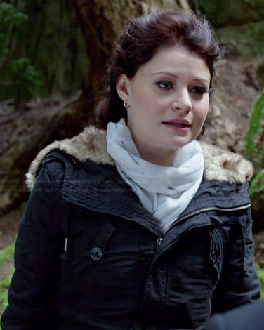 Belle's black fur trim coat and dagger printed scarf on Once Upon a Time
