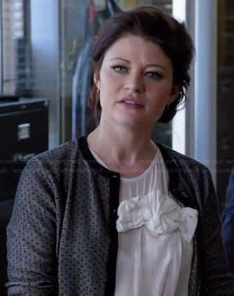 Belle's white knotted bow top and grey polka dot cardigan on Once Upon a Time