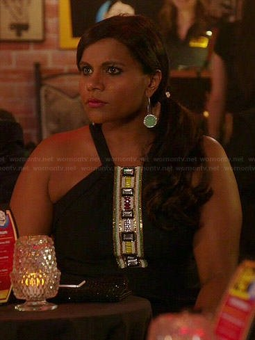 Mindy's black jewel embellished dress and green circle earrings on The Mindy Project