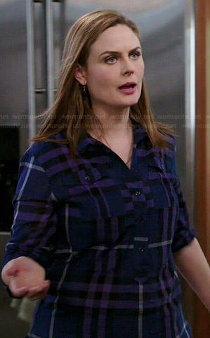 Brennan's blue and purple plaid shirt on Bones