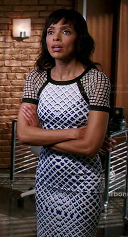 Camille's blue checked pattern dress on Bones