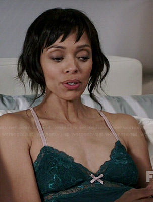 Camille's green lace chemise on Bones