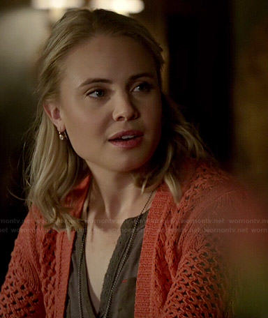 Camille's orange crochet cardigan on The Originals