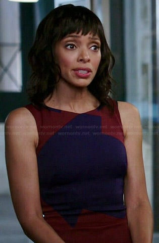 Camille's red and blue colorblock dress on Bones