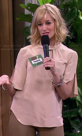 Caroline's rolled neck split sleeve blouse on 2 Broke Girls