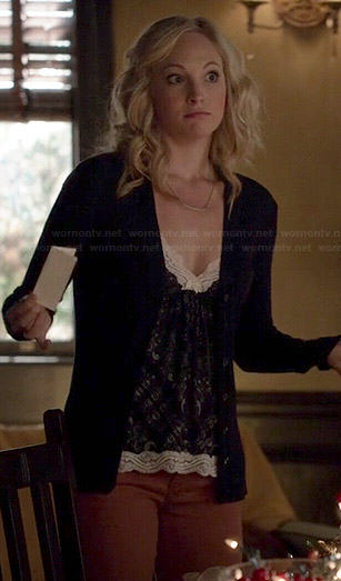Caroline's blue lace trim cami on The Vampire Diaries