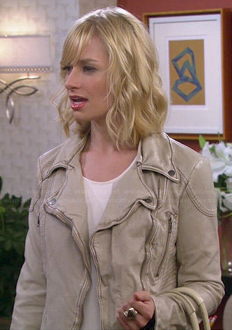 Caroline's off-white leather moto jacket on 2 Broke Girls