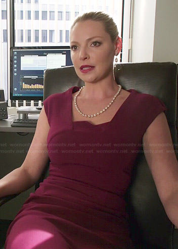 Charlie's burgundy folded neck dress on State of Affairs