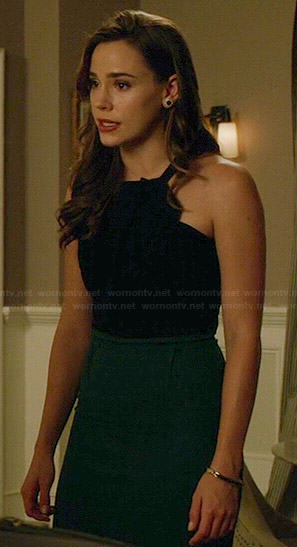 Charlotte's black and green folded neck dress on Revenge