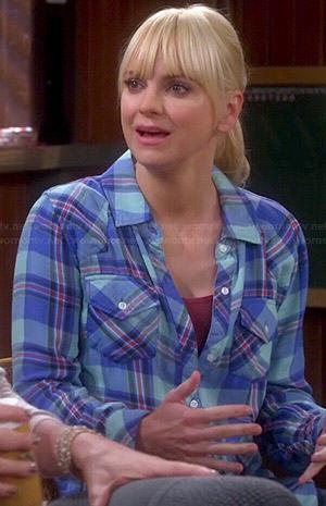Wornontv Christy S Blue And Mint Green Plaid Shirt On Mom