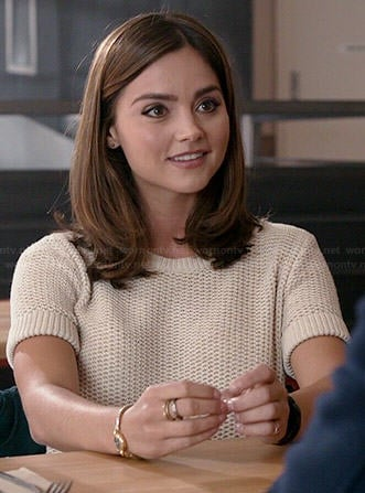 Clara's cream short sleeve sweater on Doctor Who