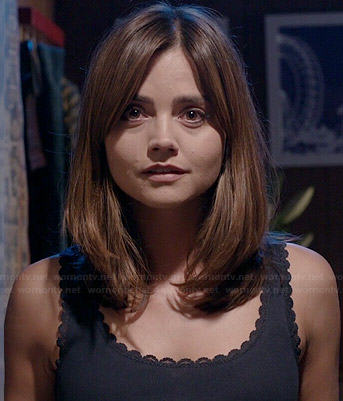 Clara's grey scalloped trim tank top on Doctor Who