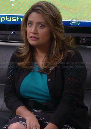 Cristela's black embellished cardigan with mesh sleeves on Cristela