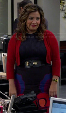 Cristela's black skirt with large floral print on Cristela