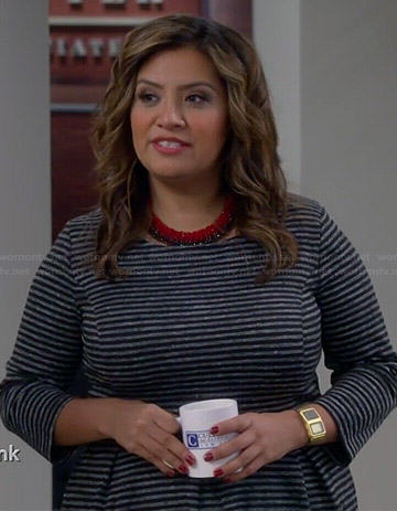 Cristela's grey striped dress on Cristela