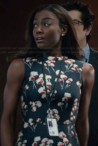 Daisy's black floral peplum top on Madam Secretary