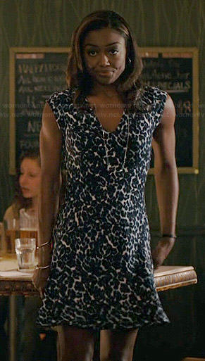 Daisy's blue leopard print dress on Madam Secretary