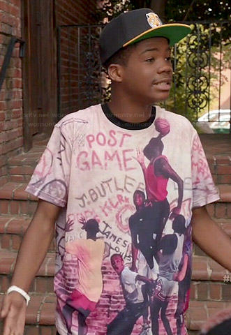 Dash's basketball graphic tee and tiger hat on Red Band Society