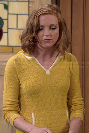Debbie's yellow knit hoodie on The Millers
