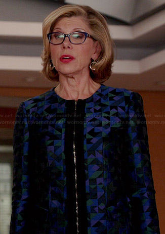 Diane's blue geometric patterned jacket on The Good Wife