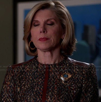 Diane's boucle jacket with brown leather trim on The Good Wife