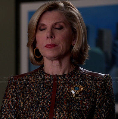Diane's tweed jacket with brown leather trim on The Good Wife