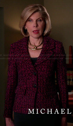 Diane's pink tweed blazer on The Good Wife