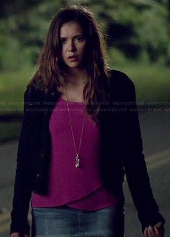 Elena's pink crossover top on The Vampire Diaries