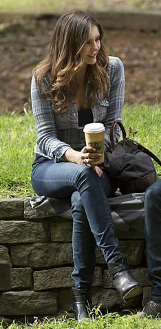 Elena's plaid shirt with jeans and black ankle boots on The Vampire Diaries