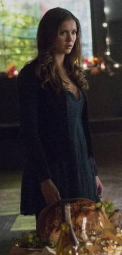 Elena's teal green lace dress on The Vampire Diaries