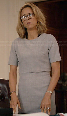 Elizabeth's grey layered dress on Madam Secretary