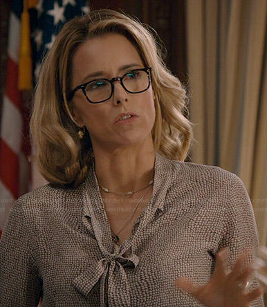 Elizabeth's printed neck tie blouse on Madam Secretary