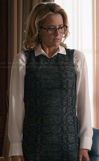 Elizabeth's tweed pencil dress with contrast stitching on Madam Secretary