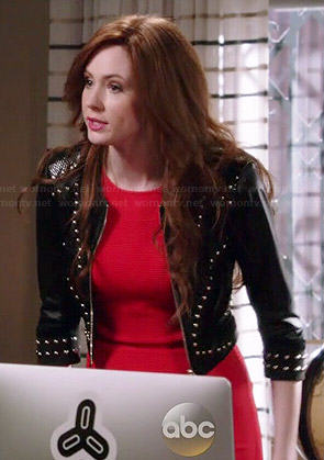 Eliza's red dress and studded leather jacket on Selfie