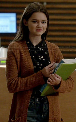 Emma's black and white star print shirt and tan knit cardigan on Red Band Society