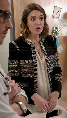 Erin's black tweed panelled jacket on Red Band Society