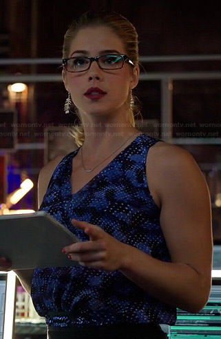 Felicity's blue printed v-neck top and jewelled belt on Arrow